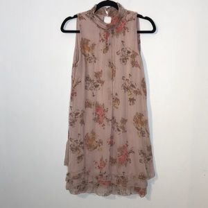 Josh made in Italy silk floral ruffle hem dress